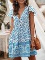 V Neck Beach Holiday Midi Dress