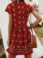 Frill Sleeve Printed Holiday Midi Dress