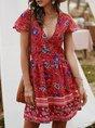 V Neck Shift Beach Buttoned Holiday Midi Dress