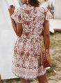 V Neck Shift Beach Floral Holiday Midi Dress