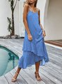 Spaghetti Shift Beach Ruffled Maxi Dress