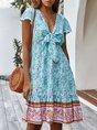 Bow Shift Frill Sleeve Holiday Midi Dress