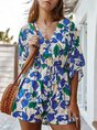 Beach Floral Holiday Half Sleeve Shift Romper