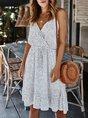 Surplice Neck Beach Polka Dots Holiday Midi  Dress