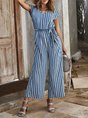Striped Short Sleeve Holiday Jumpsuit