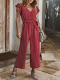 Striped Holiday Cotton Frill Sleeve Jumpsuit