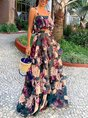 Floral Ruffled Holiday Top with Skirt Set