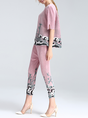 Printed Ruched Casual Top with Pants Set