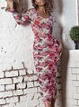 Floral Ruched Sheath Elegant Midi Dress