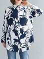 Printed Graphic Shift Casual Linen Blouse