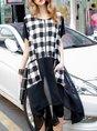 Checkered Paneled Zipper Holiday Linen Dress