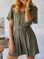 Solid V Neck Short Sleeve Shift Romper