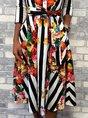 Printed Graphic Stripes Elegant Midi Dress