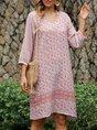 V Neck Pink Beach Tribal Midi Dress