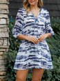 V Neck Blue Vintage Mini Dress