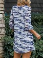 V Neck Blue Vintage Mini Dress
