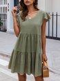 V Neck Frill sleeve Casual  Mini Dress