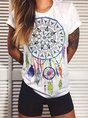 White Casual Cotton-Blend Top