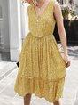 Cotton V Neck Shift Sleeveless Dresses