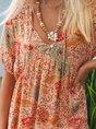 Orange Red Floral Short Sleeve Boho Dress