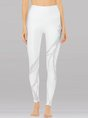 White Yoa Solid Casual Sports Leggings