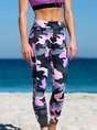 Purple Printed Abstract Sport Stretchy Yoga Sports pants