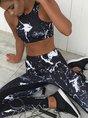 Black Printed Abstract Yoga Sports Bra With Leggings Set