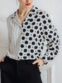 Color-block Polka Dots Stripes Casual Blouse