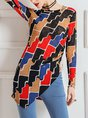 Asymmetric Printed Graphic Casual Top