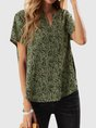 Green Shift Short Sleeve Floral Top