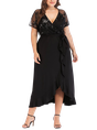 Plus Size Surplice Neck Cocktail Elegant Maxi Dress