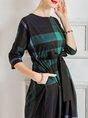 A-Line Daily Work Checkered Midi Dress