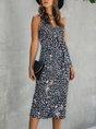 V Neck Sheath Date Polka Dots Midi Dress