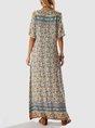 Sundress Blue Floral Boho Shift V Neck  Maxi Dress