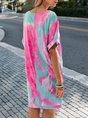 Pink tie-Dye Shift Casual Mini Dress
