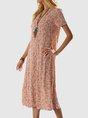 V Neck Shift Beach Floral-Print Midi Dress