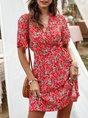 V Neck Floral-Print Boho Mini Dress