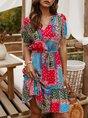 V Neck  Color-Block Beach Mini Dress