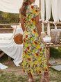 V Neck Floral Boho Maxi Dress