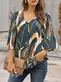 Green Bell Sleeve V-neck Floral Blouse