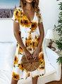 V Neck A-Line Gathered Sunflower Midi Dress