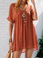 V Neck Orange Red Shift Casual Linen Mini Dress