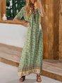 Sundress V Neck Floral Short Sleeve Boho Maxi Dress