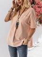 Pink Solid Short Sleeve V Neck Top