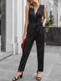 Black Work Solid V Neck Paneled Jumpsuit With Belt