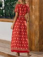Sundress Red Short Sleeve Shift Maxi Dress