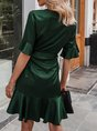 Surplice Neck Green Asymmetrical Mini Dress