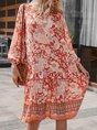 V Neck Floral-Print Boho Midi Dress