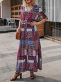 V Neck 3/4Sleeve Boho Maxi Dress