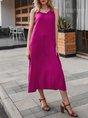 Fuchsia Sleeveless Shift Daily Maxi Dress